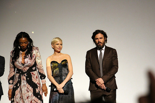 A producer, Michelle Williams and Casey Affleck at the Manchester by the Sea premiere